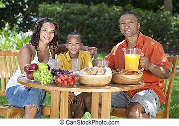 familia americana africana, comida, alimento sano, exterior