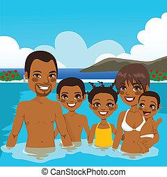 familia americana africana, en, piscina