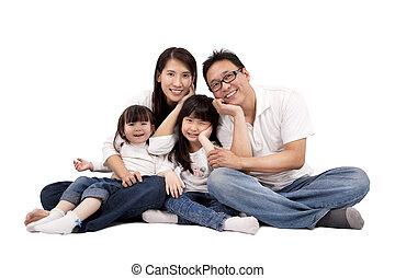 familia asiática, aislado, blanco