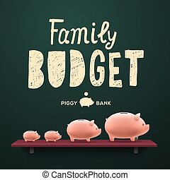 familia , budget., cerdito, money-boxes, en, el, estante