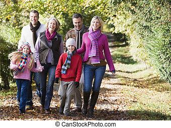 familia caminar, aire libre, en el estacionamiento, y, sonriente