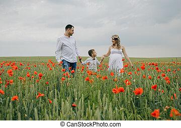 familia caminar, en, amapola, campo, manos de valor en cartera
