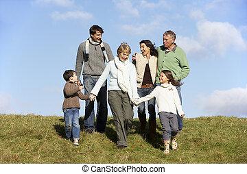 familia caminar, en el parque