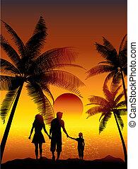 familia caminar, en, playa