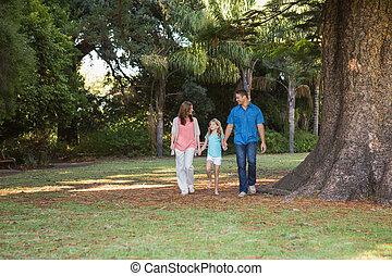 familia caminar, en, un, parque