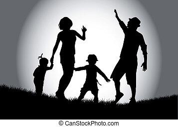 familia , caminata