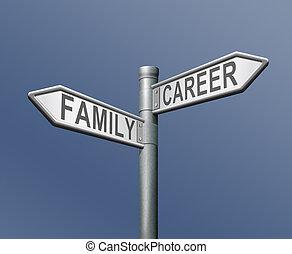 familia , carrera, trabajo, o, privado, dilema