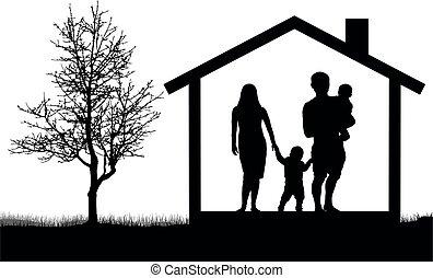 familia , casa, ilustración, árbol, siluetas, vector, niños