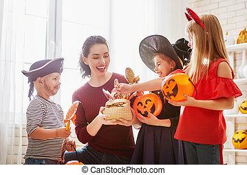 familia , celebrar, halloween