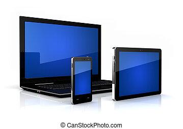 familia , computador portatil, tableta, -, teléfono, digital, touch-screen
