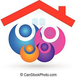 familia , con, casa nueva, logotipo
