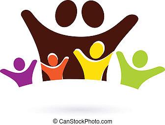 familia , con, cuatro, niños, resumen, icono, aislado,...