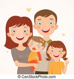 familia , con, hijas