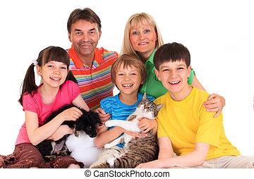 familia , con, mascotas