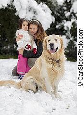 familia , con, un, perro, en, invierno