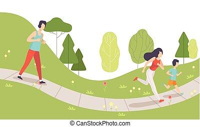familia , corriente, en el estacionamiento, madre, padre, y, su, hijo, hacer, físico, actividades, aire libre, forma de vida sana, y, condición física, vector, ilustración