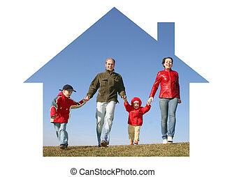 familia cuatro, en, casa ideal