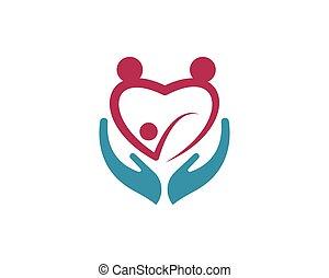 familia , cuidado, símbolo, icono, logotipo, diseño