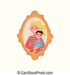 familia , de madera, marco de la foto, hijo, ilustración, ...