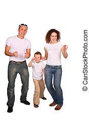 familia , de, tres, bailando