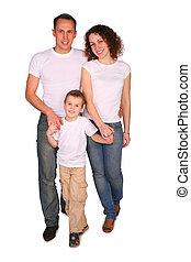 familia , de, tres, posar