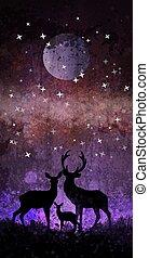 familia de venados, silueta, delante de, brillante, cielo de la noche, con, luna y estrellas