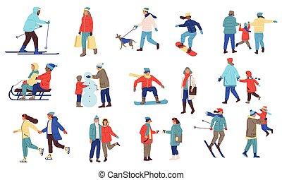 familia , deporte, advertising., al aire libre, ropa de calle, snowballs, hombres, bienes, personas., perros, el snowboarding, actividad, estación, paseos, vector, extremo, juego, conjunto, skiing., mujeres, invierno, frío