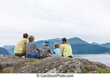 familia , el gozar, fiordo, vista
