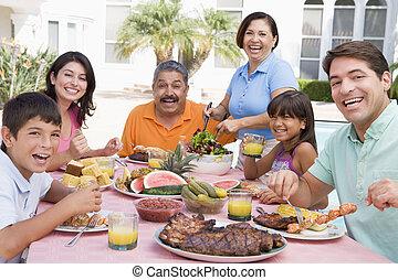 familia , el gozar, un, barbacoa