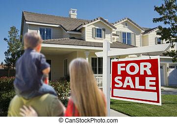 familia , el mirar, nuevo hogar, con, para el signo de liquidación