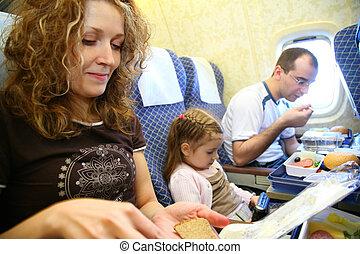 familia , en, avión, 2
