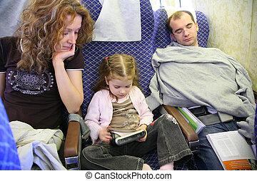 familia , en, avión