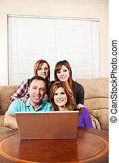 familia , en casa, hojear, internet