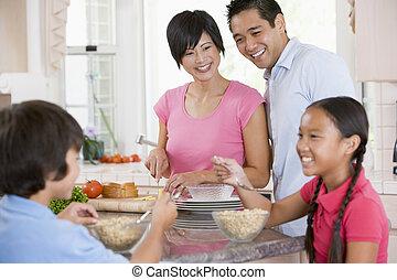 familia , en, cocina, desayunándose