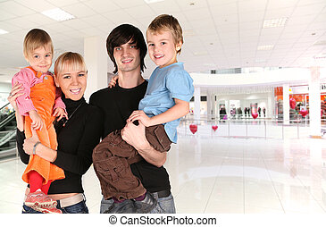 familia , en, comercial, centro