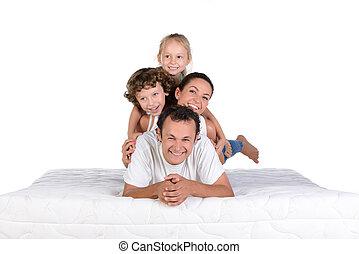 familia , en, el, colchón