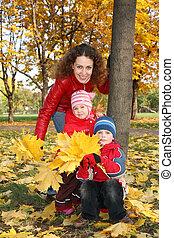 familia , en el parque, en, otoño