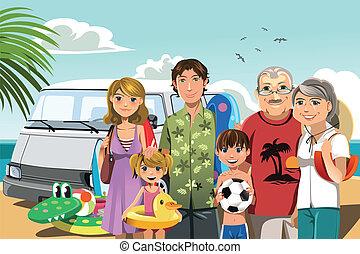 familia en la playa, vacaciones
