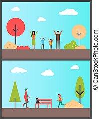 familia , en, otoñal, parque, niño, adolescentes, jogging