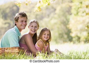 familia , en, parque, tener un picnic, y, sonriente