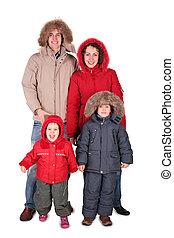 familia , en, ropa de invierno