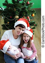 familia , en, sombreros de navidad