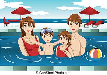 familia , en, un, piscina