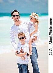 familia , en, vacaciones caribes