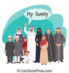 familia extendida, ilustración, árabe, varios, mi, ...
