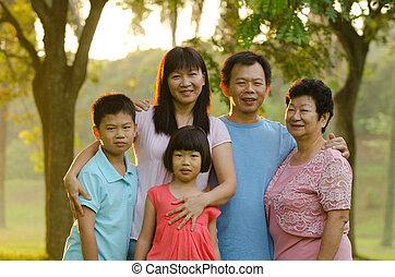 familia extendida, posición, aire libre, sonriente