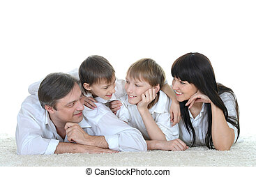 familia feliz, acostado, gente