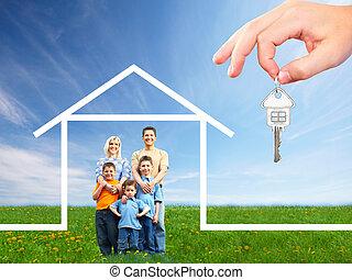 familia feliz, cerca, nuevo, house.