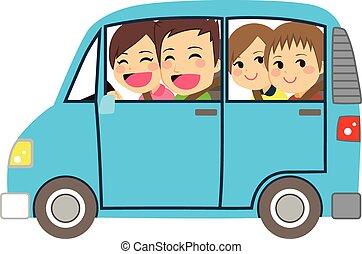 familia feliz, coche, minivan