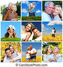 familia feliz, collage.